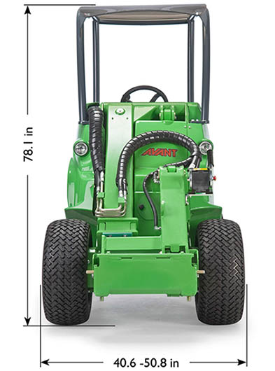 Alternative for skid steer, Avant 528 loader dimensions front