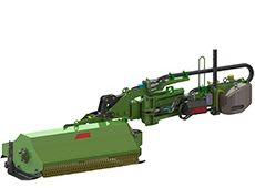 Flail mower with hydraulic side arm